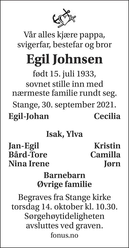 Egil Johnsen Dødsannonse