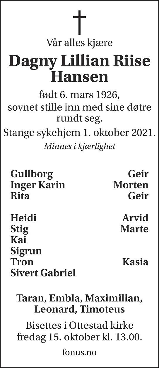 Dagny Lillian Riise Hansen Dødsannonse