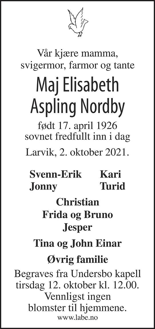 Maj Elisabeth Aspling Nordby Dødsannonse