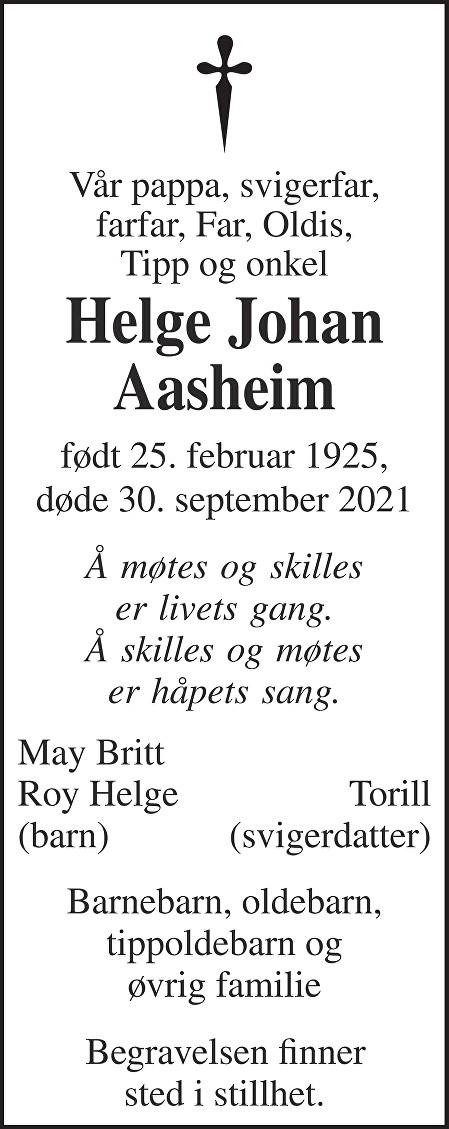 Helge Johan Aasheim Dødsannonse