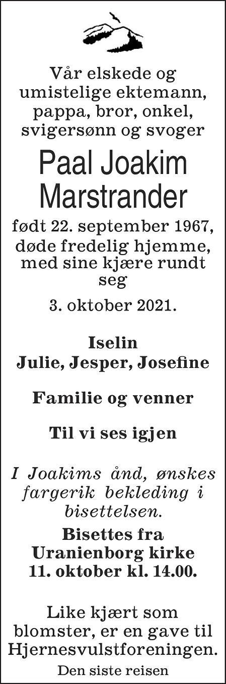 Paal Joakim Marstrander Dødsannonse