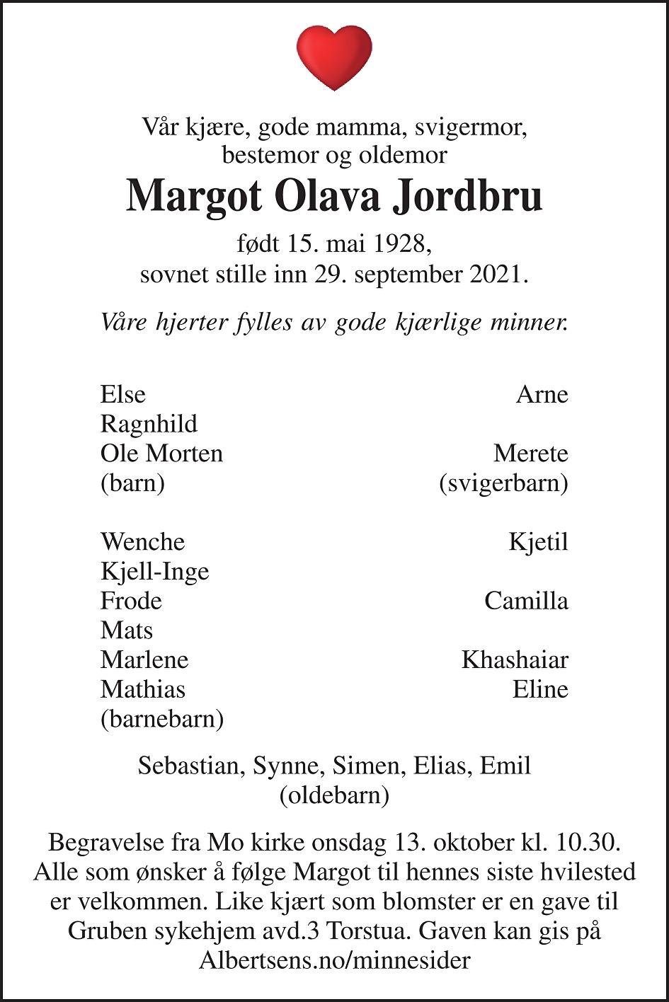 Margot Olava Jordbru Dødsannonse