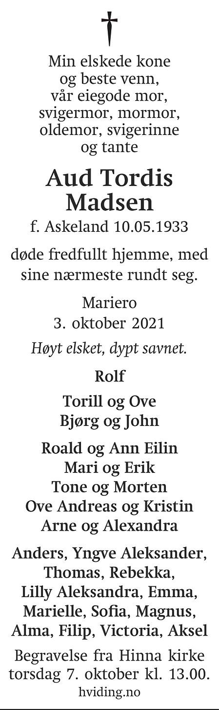 Aud Tordis Madsen Dødsannonse