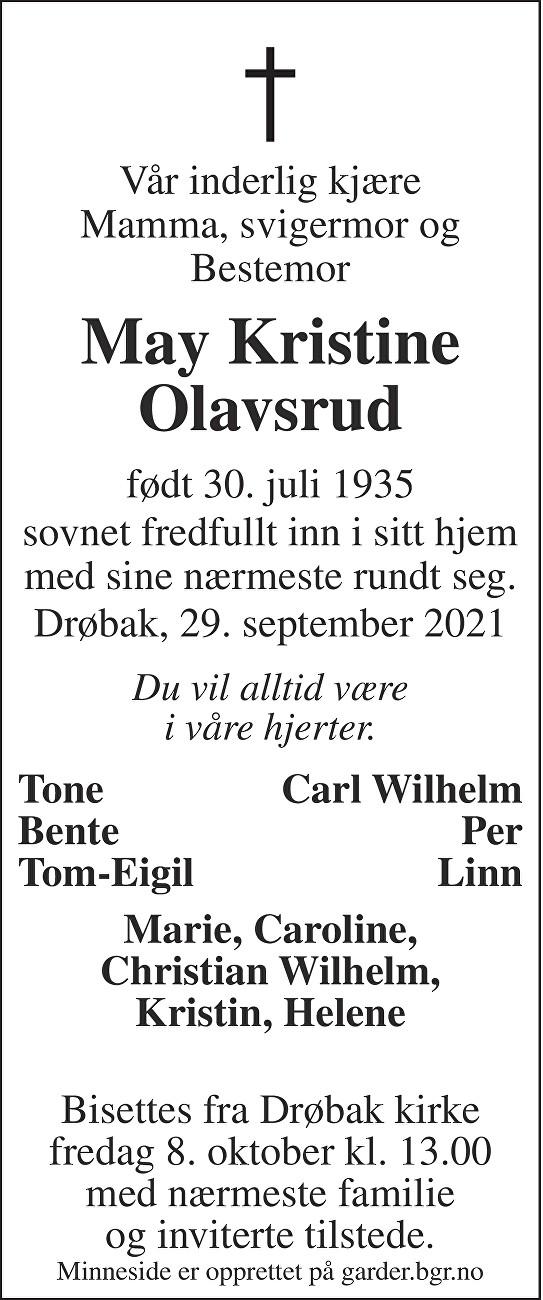May Kristina Olavsrud Dødsannonse