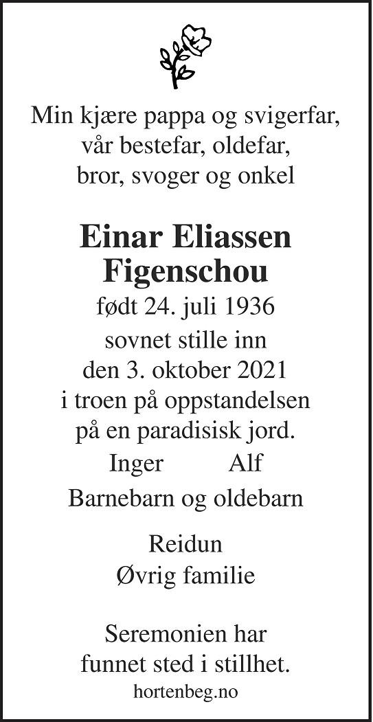 Einar Eliassen Figenschou Dødsannonse