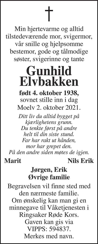 Gunhild Elvbakken Dødsannonse