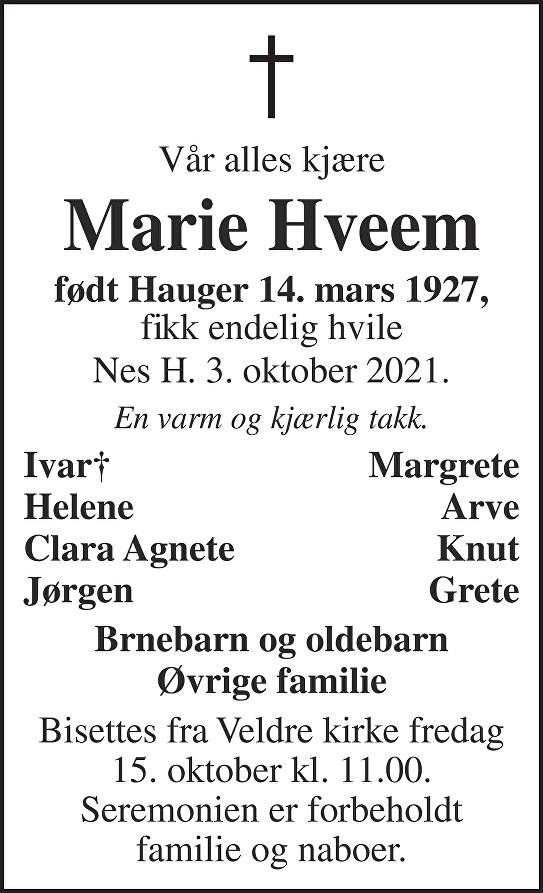 Marie  Hveem  Dødsannonse