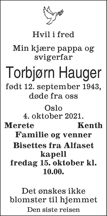 Torbjørn Hauger Dødsannonse