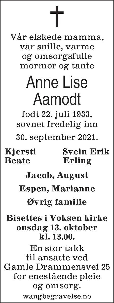 Anne Lise Aamodt Dødsannonse