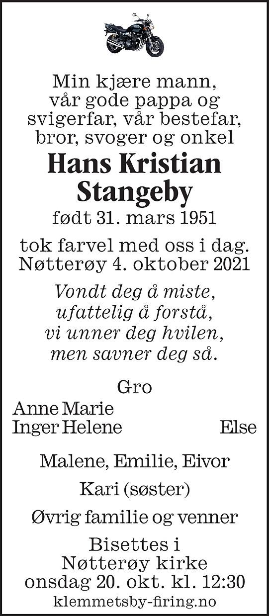 Hans Kristian Stangeby Dødsannonse