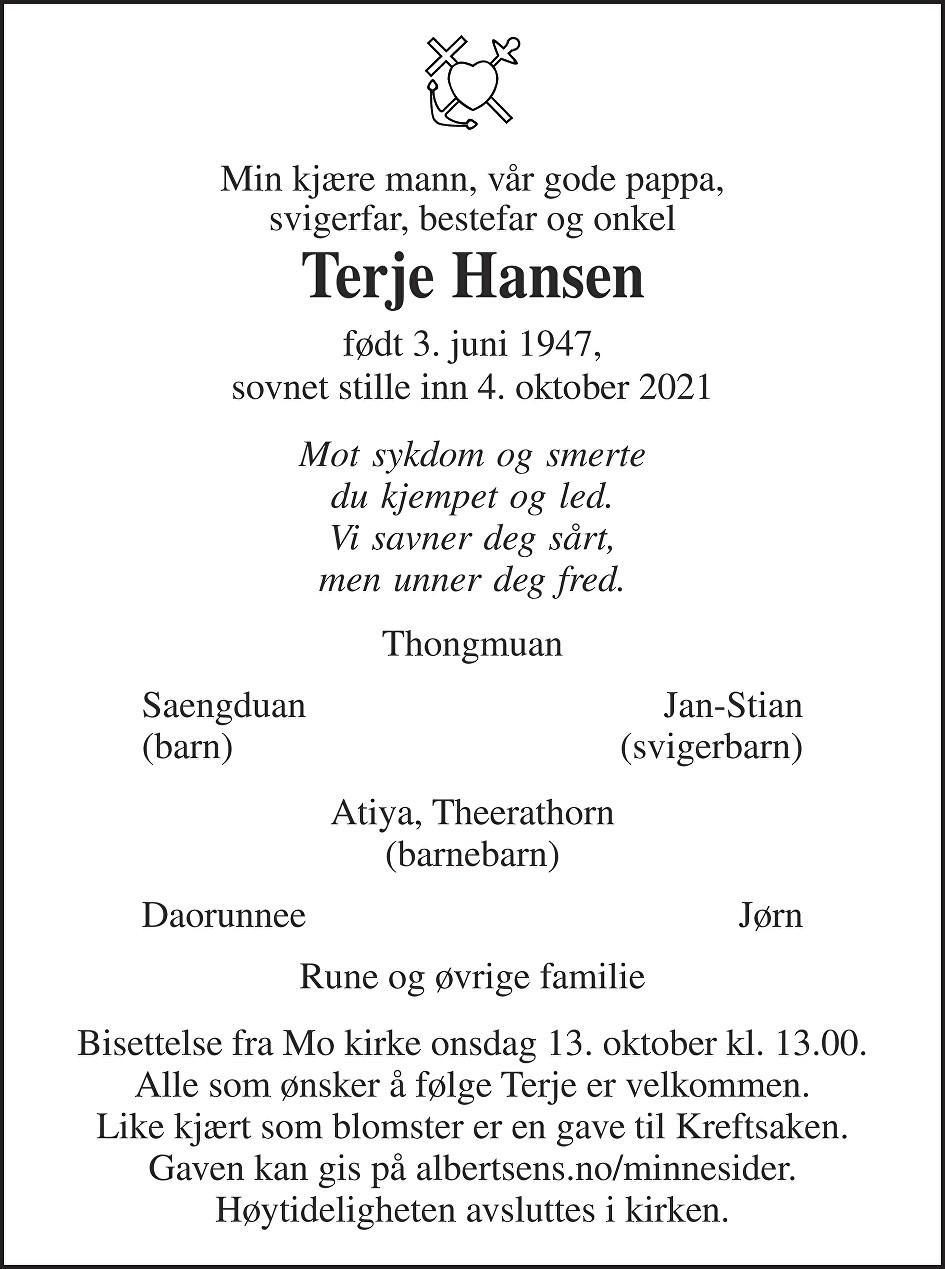 Terje Hansen Dødsannonse