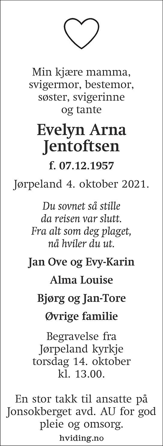 Evelyn Arna Jentoftsen Dødsannonse