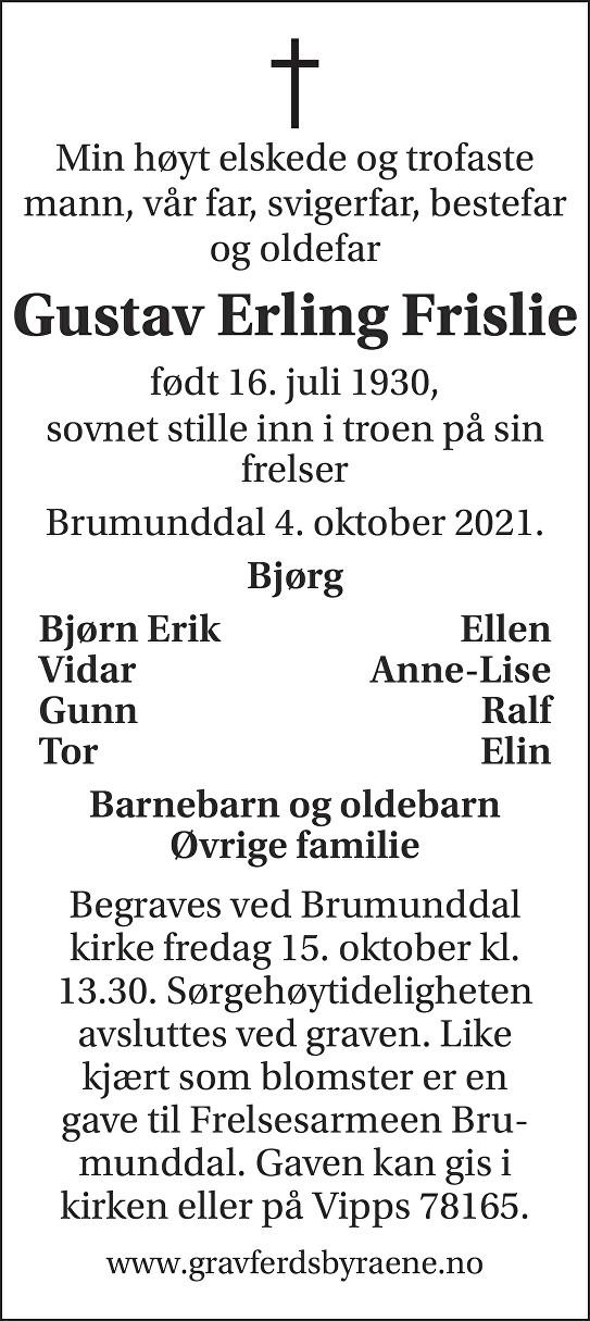 Gustav Erling Frislie Dødsannonse