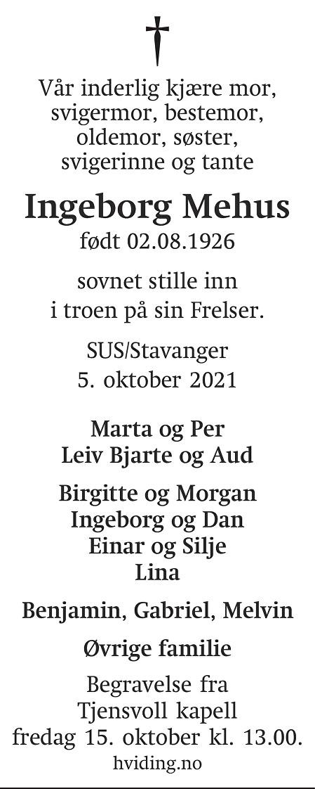 Ingeborg Mehus Dødsannonse