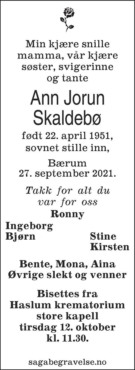 Ann Jorun Skaldebø Dødsannonse