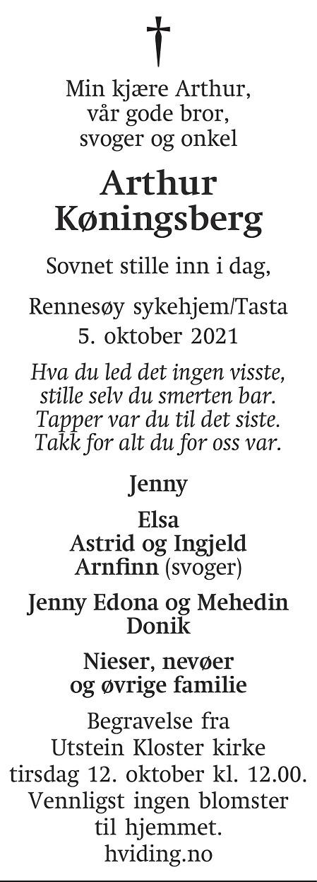 Arthur Køningsberg Dødsannonse