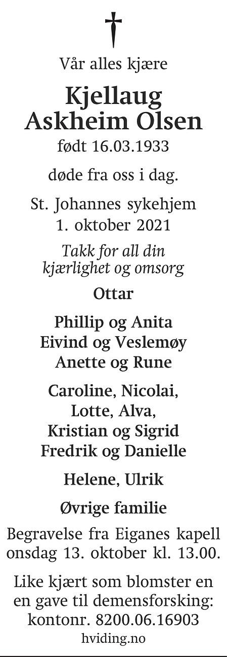 Kjellaug Askheim Olsen Dødsannonse
