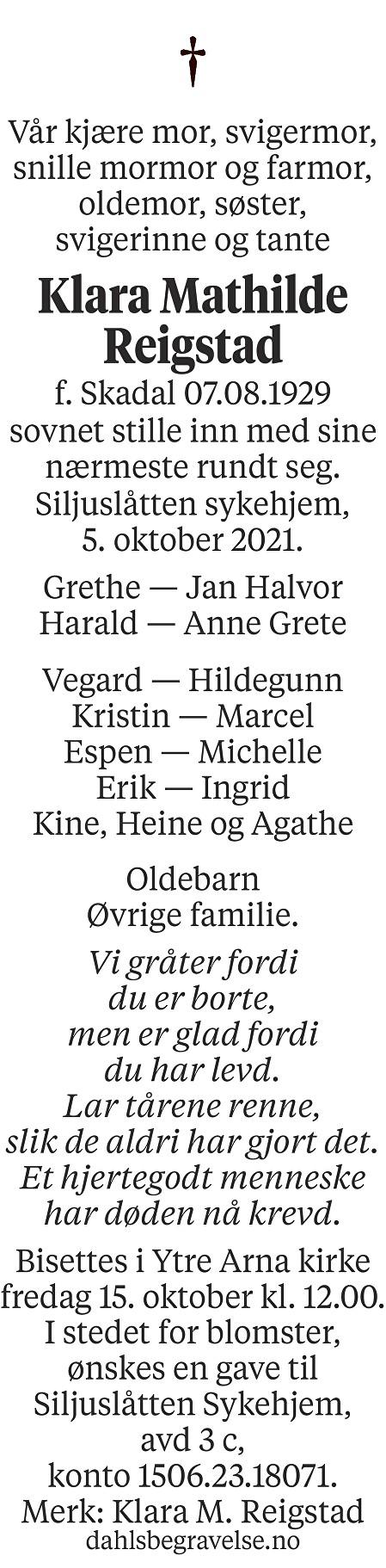 Klara Mathilde Reigstad Dødsannonse