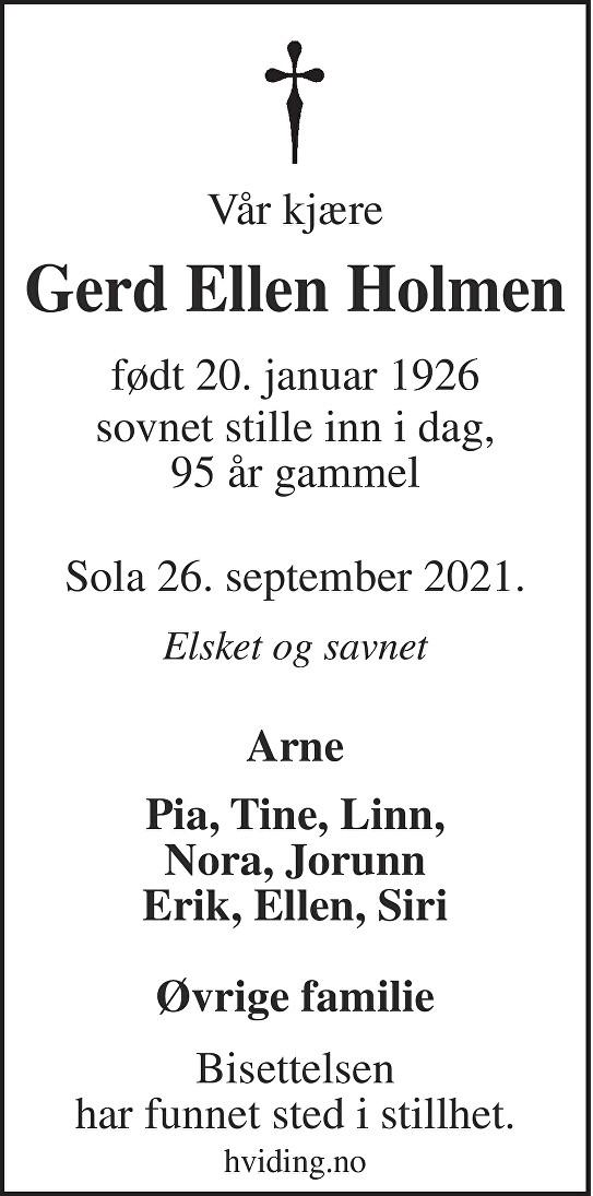 Gerd Ellen  Holmen Dødsannonse