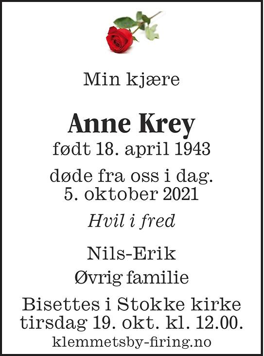 Anne Karin Krey Dødsannonse