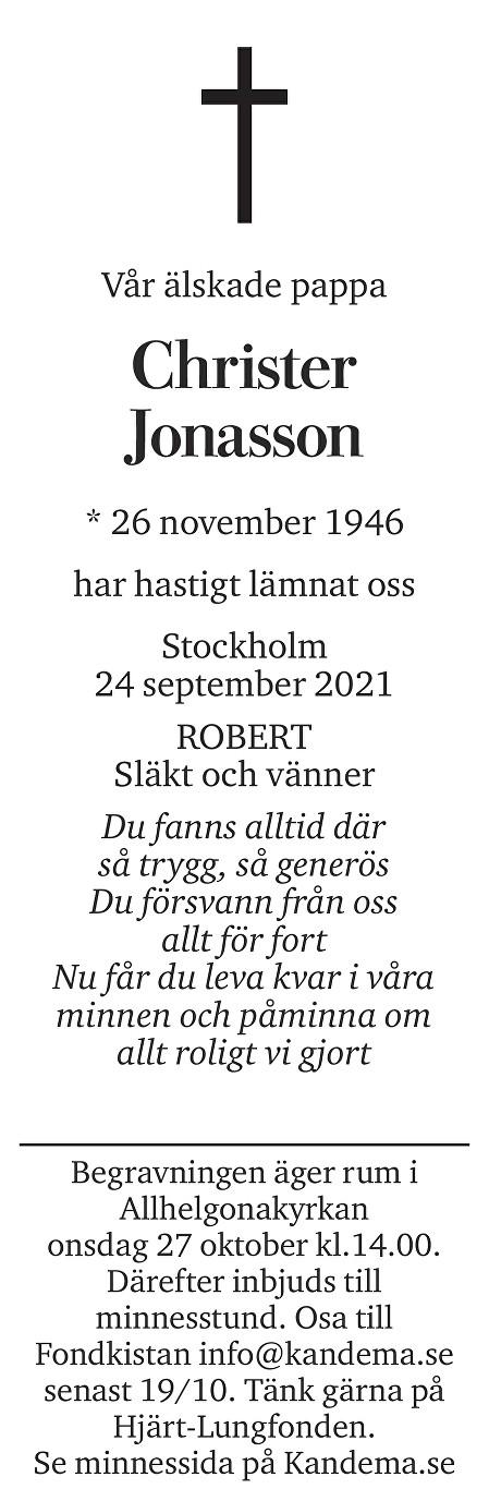 Christer Jonasson Death notice