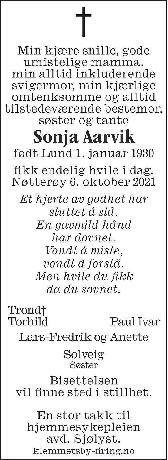 Sonja Aarvik Dødsannonse