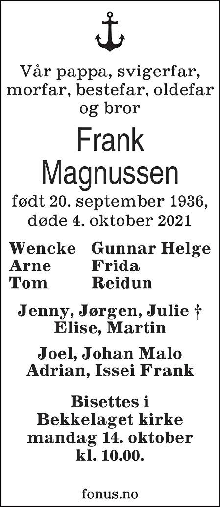 Frank Magnussen Dødsannonse