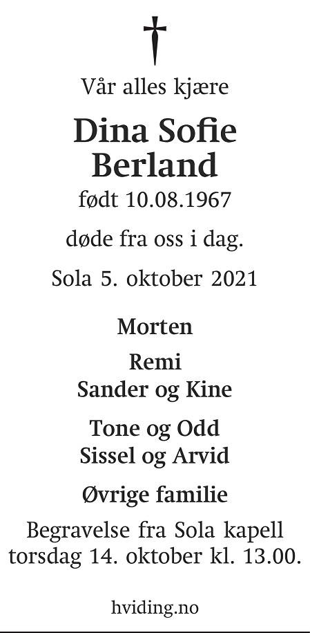 Dina Sofie Berland Dødsannonse