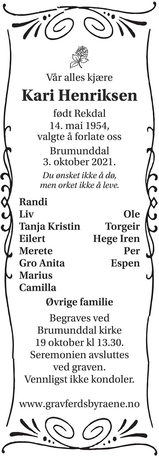 Kari Henriksen Dødsannonse