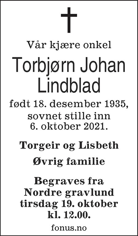 Torbjørn Johan Lindblad Dødsannonse