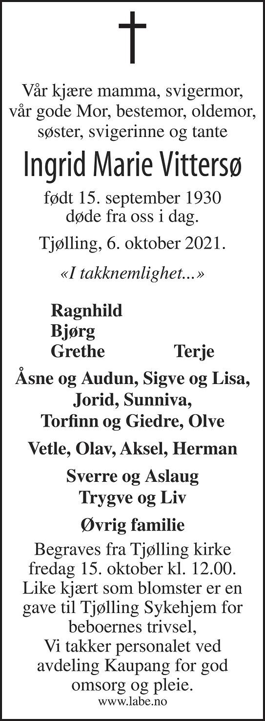 Ingrid Marie Vittersø Dødsannonse