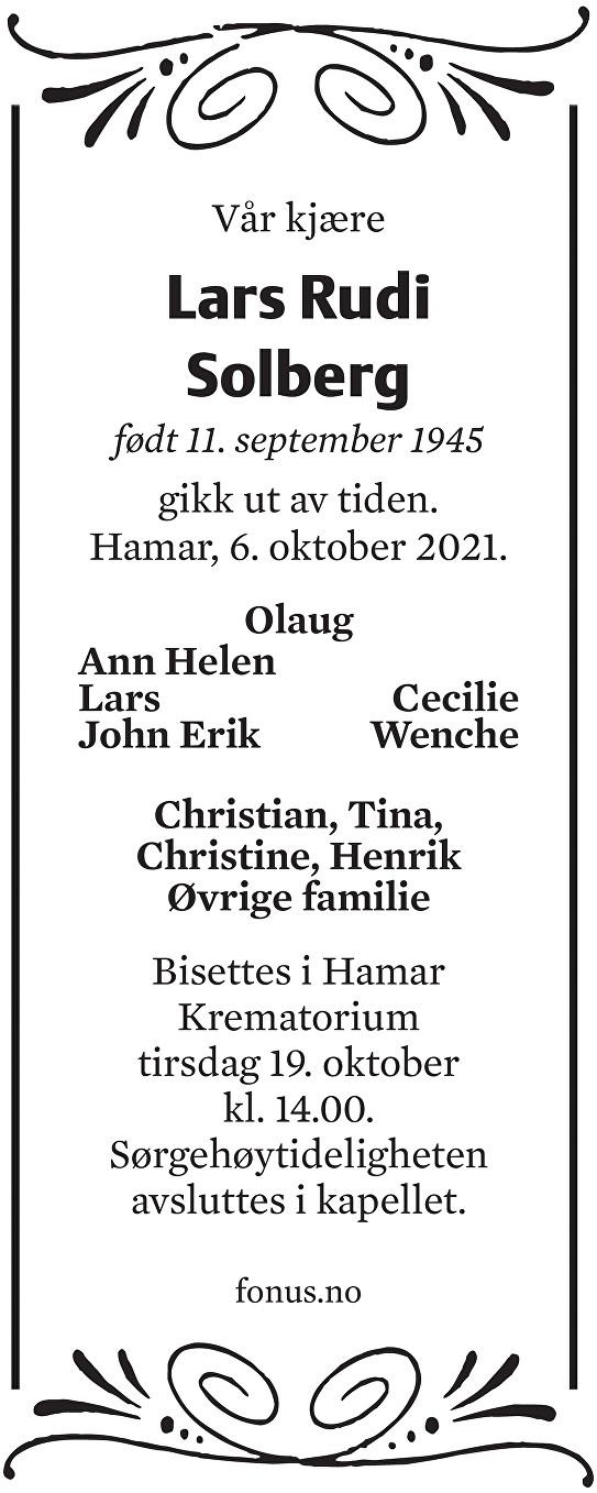 Lars Rudi Solberg Dødsannonse