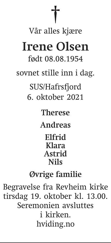 Irene Olsen Dødsannonse