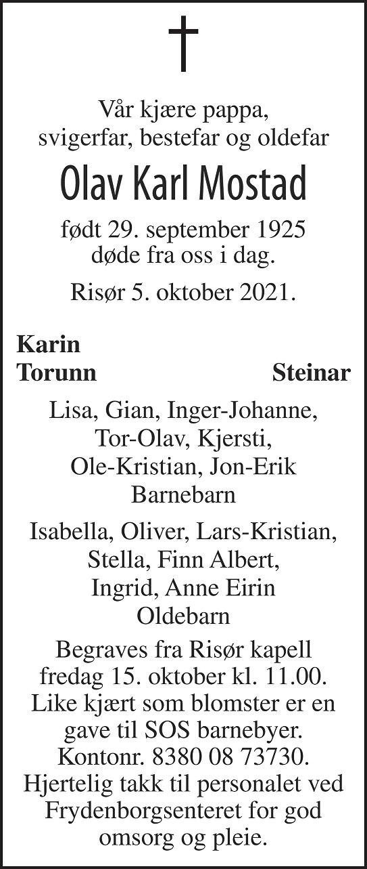 Olav Karl Mostad Dødsannonse