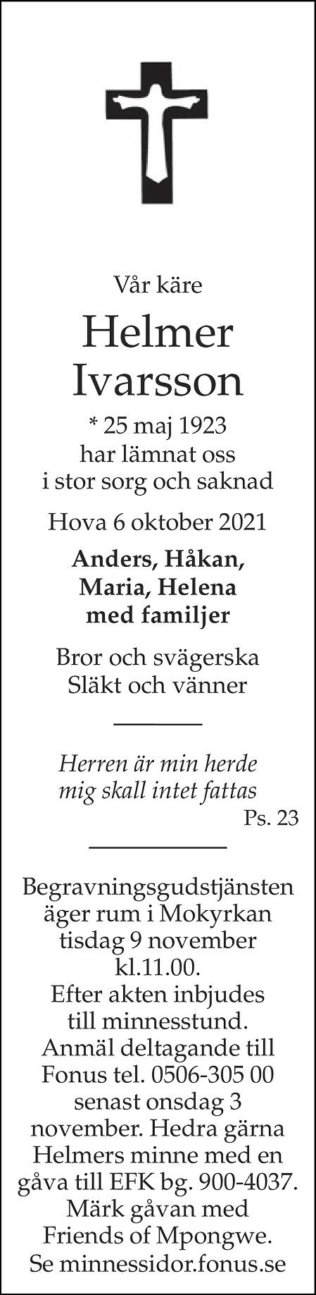 Helmer Ivarsson Death notice
