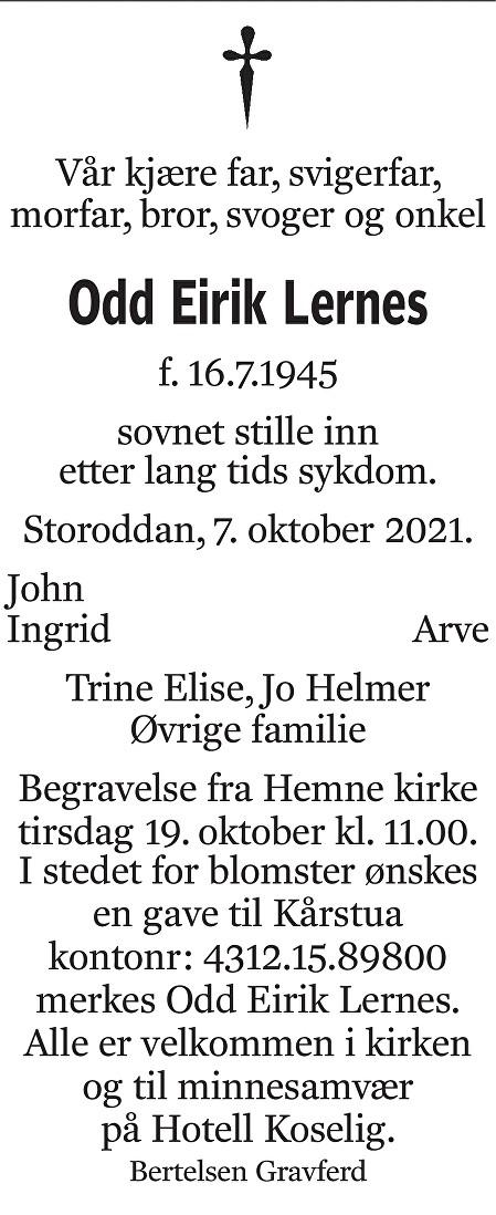 Odd Eirik Lernes Dødsannonse