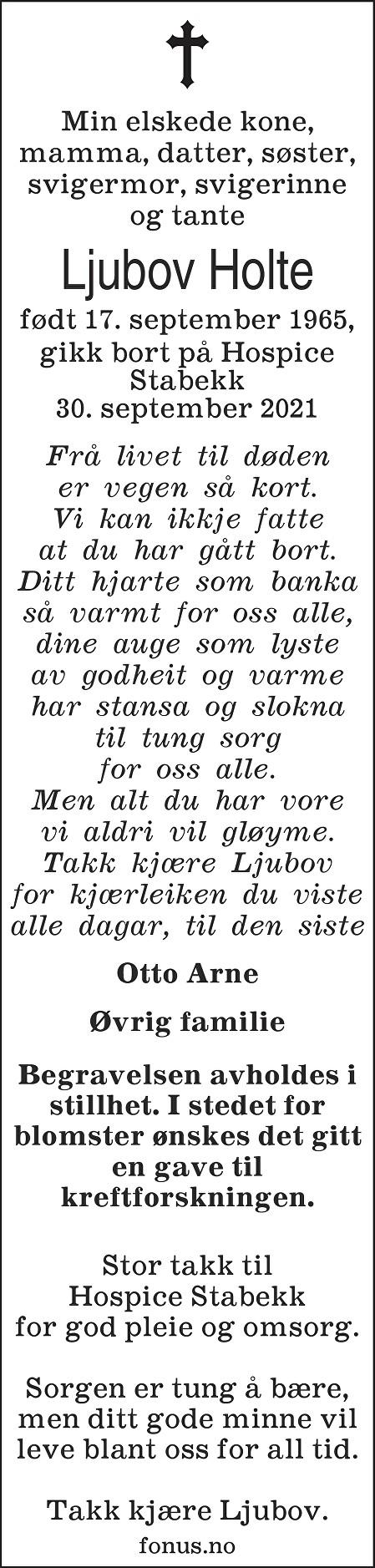 Ljubov Holte Dødsannonse
