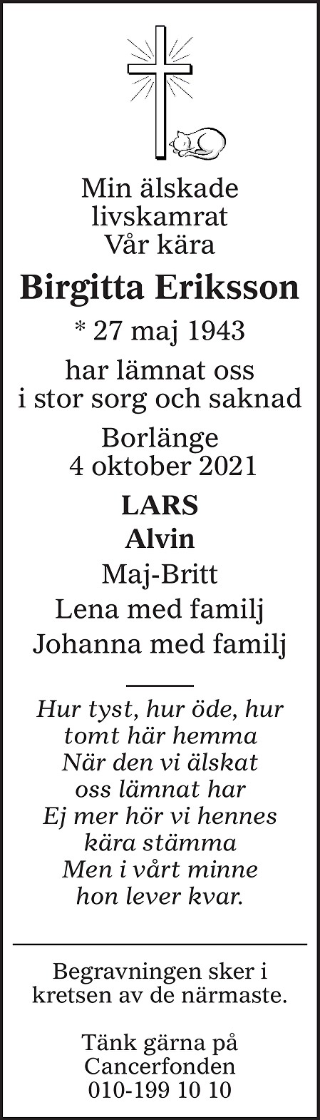 Birgitta Eriksson Death notice