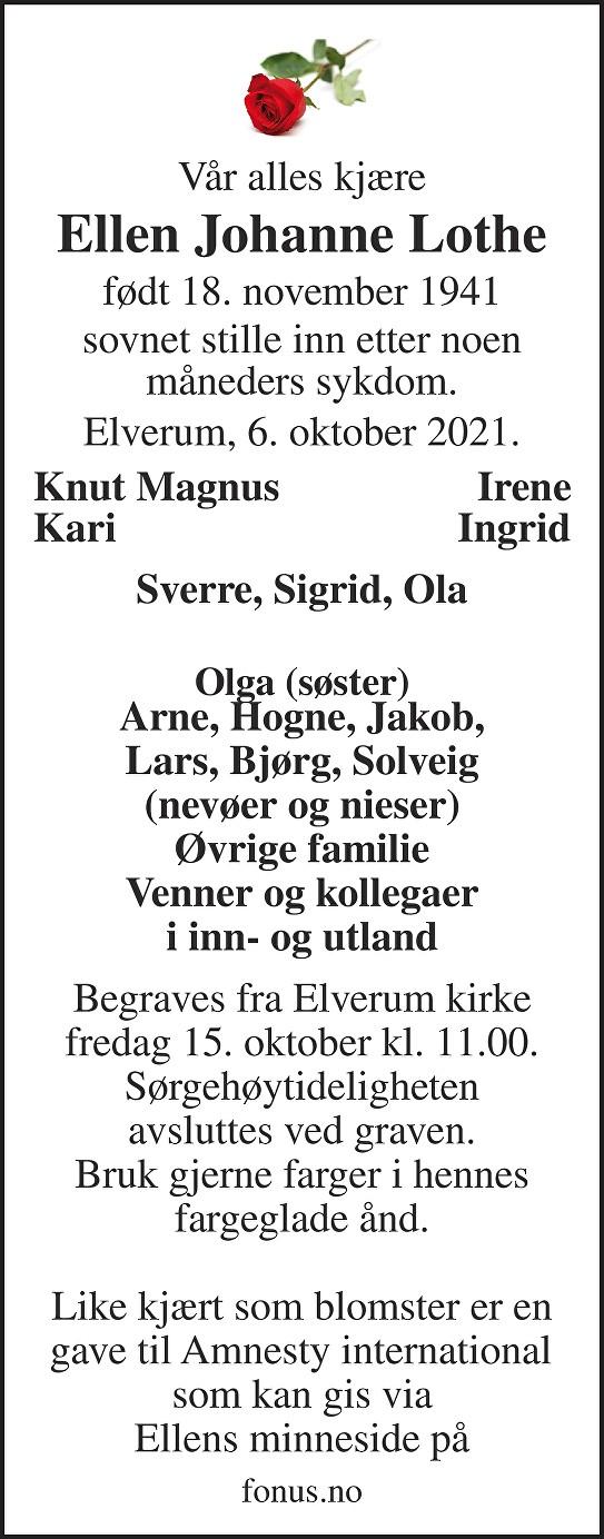 Ellen Johanne Lothe Dødsannonse