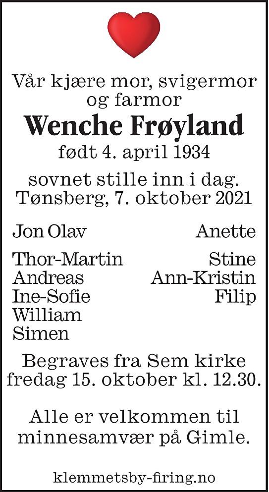 Wenche Frøyland Dødsannonse