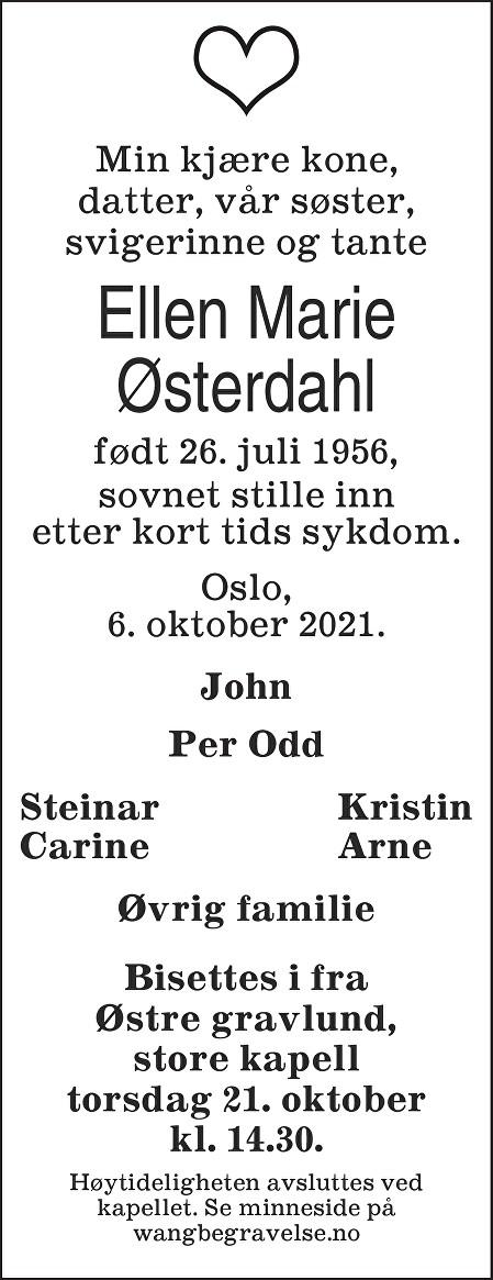Ellen Marie Østerdahl Dødsannonse