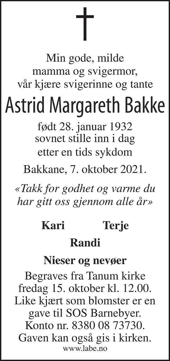 Astrid Margareth Bakke Dødsannonse