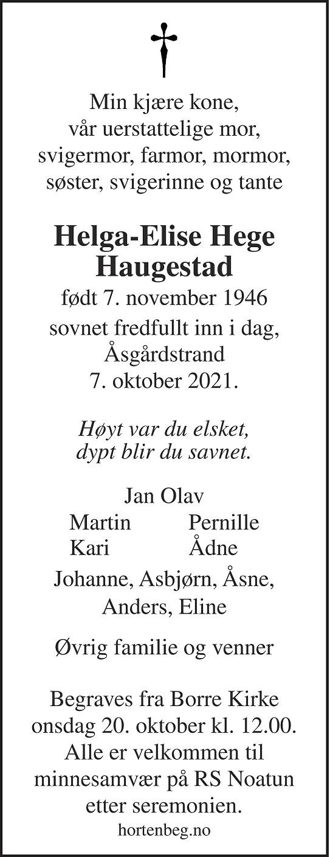 Helga-Elise Hege Haugestad Dødsannonse