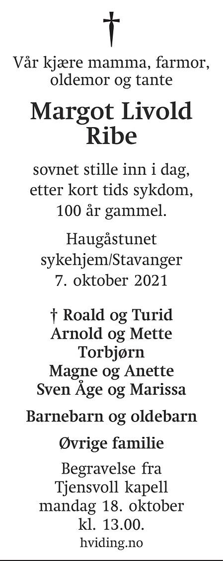 Margot Livold Ribe Dødsannonse