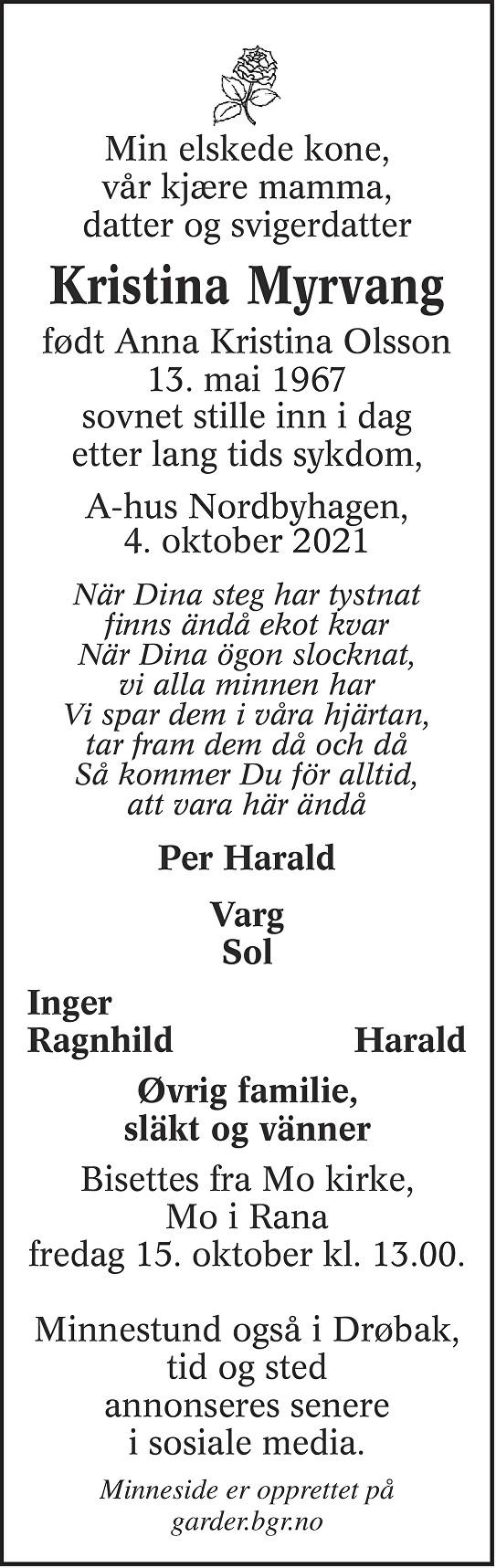Anna Kristina Myrvang Dødsannonse