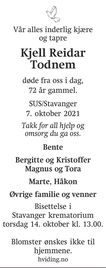 Kjell Reidar Todnem Dødsannonse