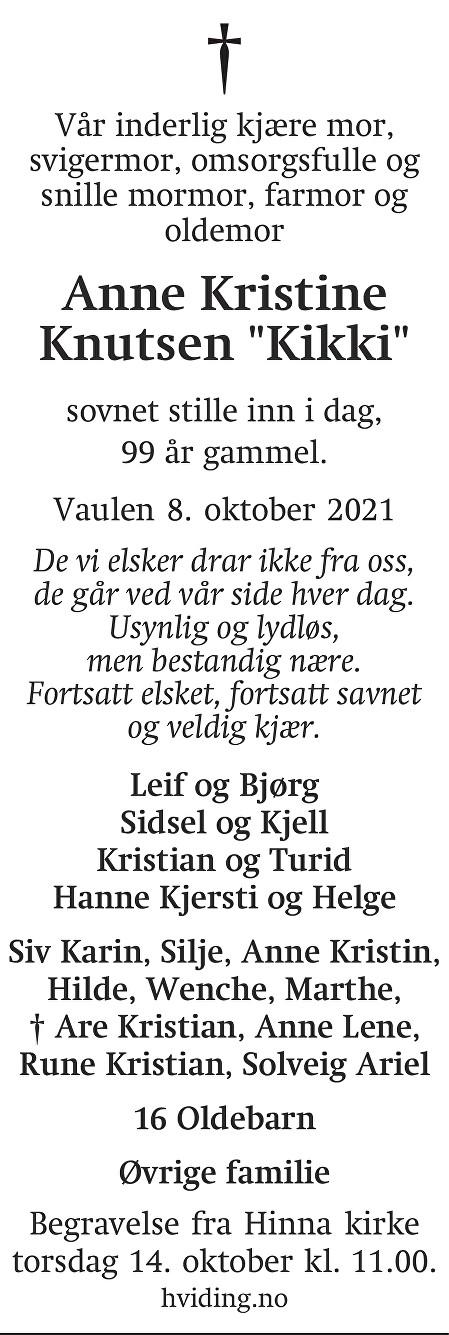 Anne Kristine Knutsen Dødsannonse