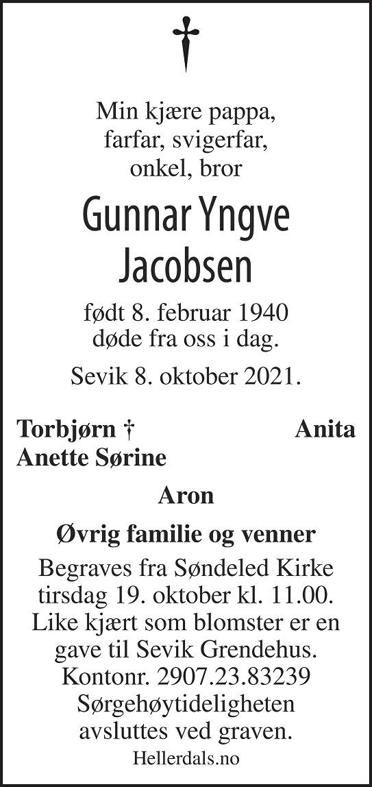 Gunnar Yngve Jacobsen Dødsannonse