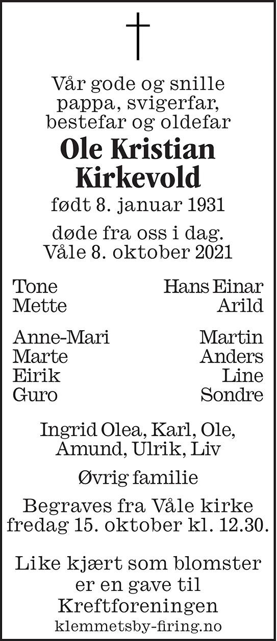 Ole Kristian Kirkevold Dødsannonse
