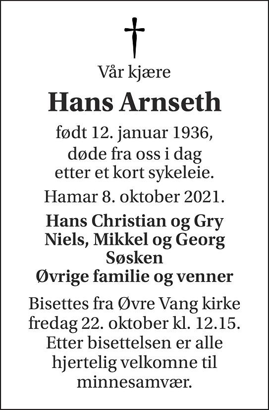 Hans Arnseth Dødsannonse